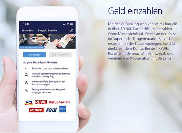 O2 Banking Geld Einzahlen