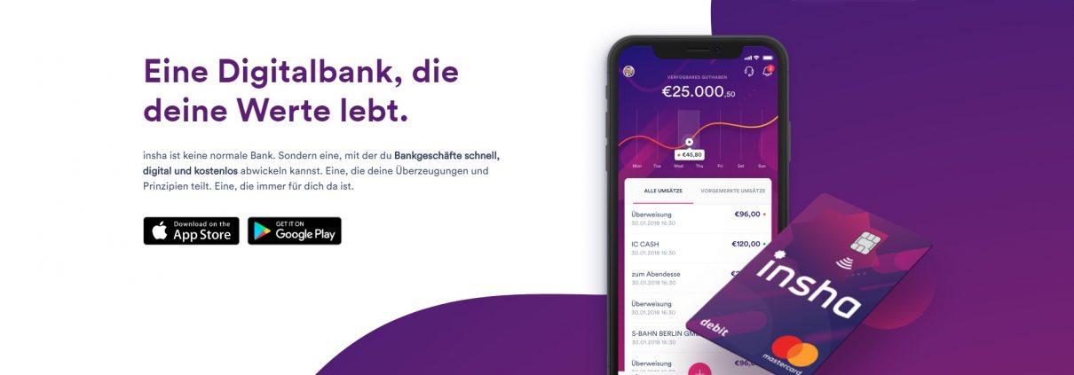 Die Startseite der Digitalbank Insha