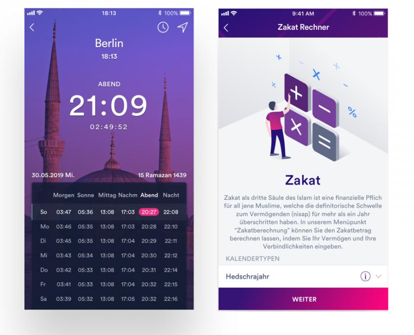 Islamische Funktionen der Insha Banking App