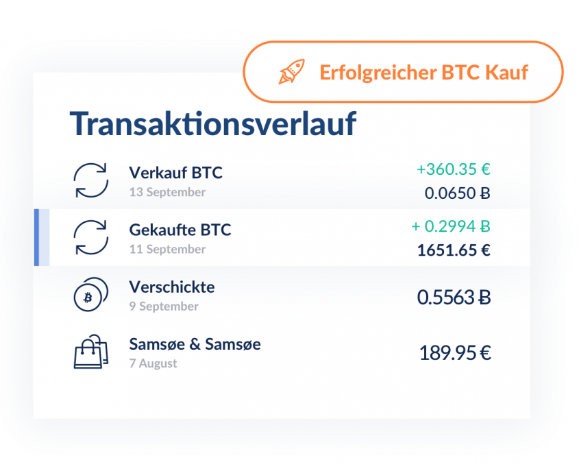 Bitwala Transaktionsverlauf